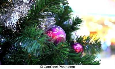 Christmas scene with tree and colordul balls, close-up. Shift motion. HD. 1920x1080