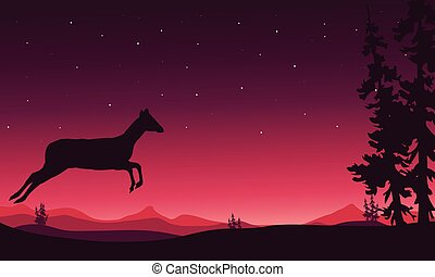 Christmas scenery deer of silhouette