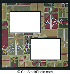 Christmas Scrapbook Frame Template - Christmas Theme Square...
