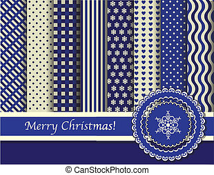 Christmas scrapbooking blue and cream