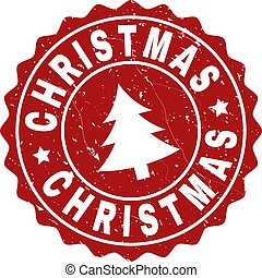 CHRISTMAS Scratched Stamp Seal with Fir-Tree