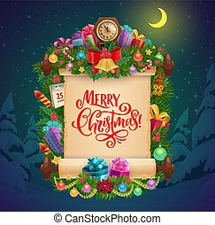 Christmas scroll greeting card with Xmas gifts