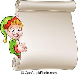 Christmas Scroll Santa Helper Elf - A cute cartoon Christmas...