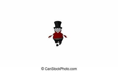 Christmas Scrooge - Christmas scrooge walking on a white...