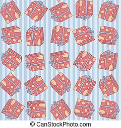Christmas seamless background pattern of gift boxes with dots