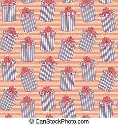Christmas seamless background pattern of gift boxes with lines