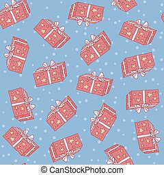 Christmas seamless background pattern of gift boxes with stars