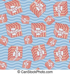 Christmas seamless background pattern of gift boxes with waves