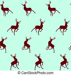 Christmas seamless background with a set of red deers