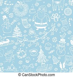 Christmas seamless background with doodle symbols