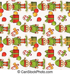 Christmas seamless background with elves. Vector pattern. - ...