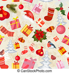 Christmas seamless background with gifts