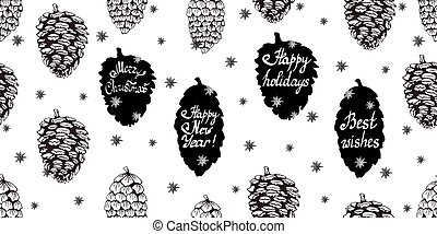 Christmas seamless background with pine cones