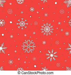 Christmas seamless background with snowflakes. Snowflake vector pattern on red background. Winter design