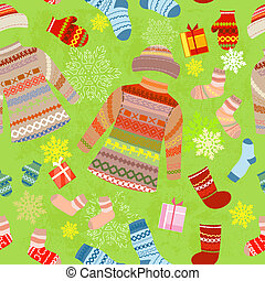 Christmas seamless background with warm clothes