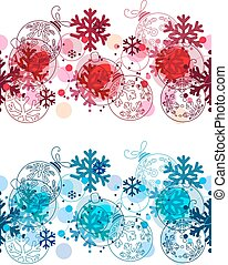 Christmas seamless border with balls. Two variants of color