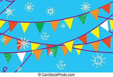 Christmas seamless border with flags and snow