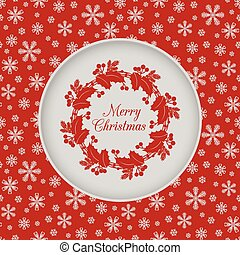 Christmas seamless card with holly wreath, red