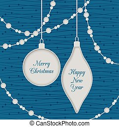 Christmas seamless card with toys and garland,blue