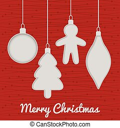 Christmas seamless card with toys, red