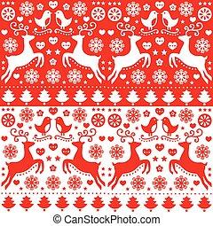 Christmas seamless folk pattern