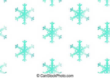 Christmas seamless gradient pattern with snowflakes on white background.