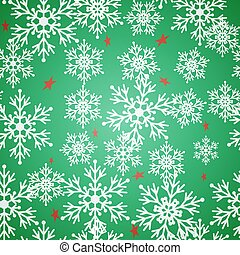 Christmas seamless green pattern background with bright snowflakes and stars.