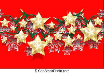 Christmas seamless horizontal pattern of stars, snowflakes and garlands with light bulbs. Bright New Years border for design.