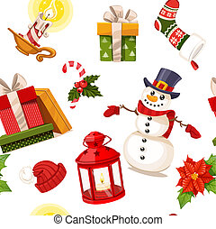 Christmas seamless ornament with candles, hat, gifts and a flashlight on a white background