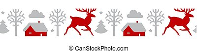 Christmas seamless patterin with reindeer, fir trees and house. Nordic design.