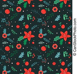 Christmas seamless pattern and abstract background, botanical illustrations with red flowers and leaves.