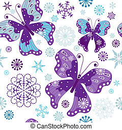 Christmas seamless white pattern with butterflies and snowflakes (vector)
