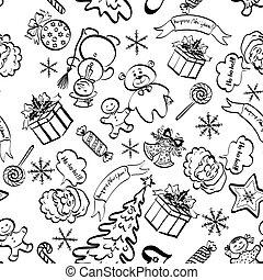 Christmas seamless pattern, contour
