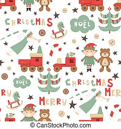 Christmas Seamless pattern. Cute Christmas Characters and ...