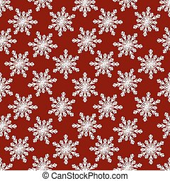 Christmas seamless pattern from white snowflakes on red background