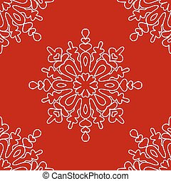 Christmas seamless pattern from white snowflakes on red background.