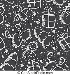 christmas seamless pattern, hand drawn xmas symbols on...