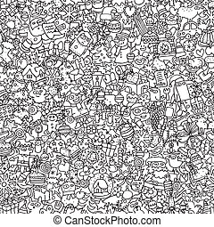 Christmas seamless pattern in black and white (repeated) ...