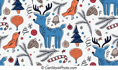 Christmas seamless pattern in Scandinavian rustic style