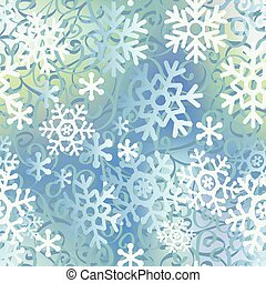 Christmas seamless pattern of big and light small snowflakes.