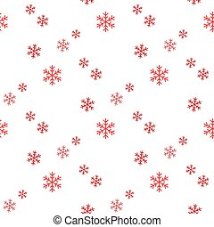 Christmas seamless pattern of big and small snowflakes, red on white