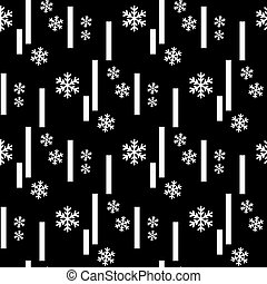 Christmas seamless pattern of big and small snowflakes, white on black. eps 10