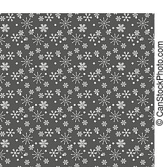 Christmas seamless pattern of complex big and small snowflakes in white colors on gray background