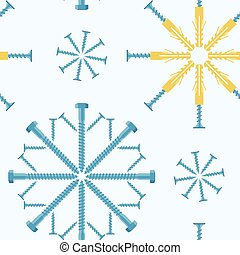 Christmas seamless pattern of fasteners laid out in the shape of snowflakes. Vector background.