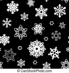Christmas seamless pattern of small and big snowflakes, white on black. white silhouette