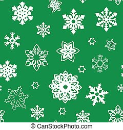 Christmas seamless pattern of small and big snowflakes, white on green. white silhouette