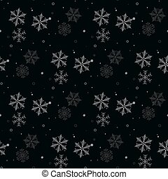 Christmas seamless pattern of snowflakes gray and white on black background