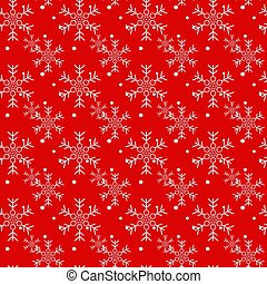 Christmas seamless pattern of snowflakes on red background. Vector.