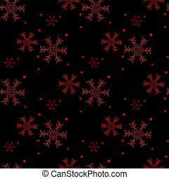 Christmas seamless pattern of snowflakes, red on black eps10