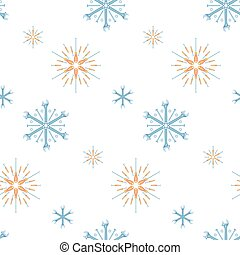 Christmas seamless pattern of tools and fasteners laid out in the shape of snowflakes. Vector background.